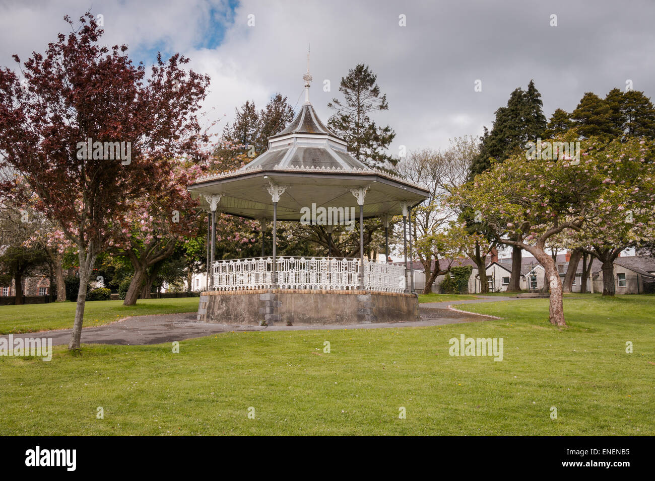 A bandstand situated in a peaceful park - Stock Image