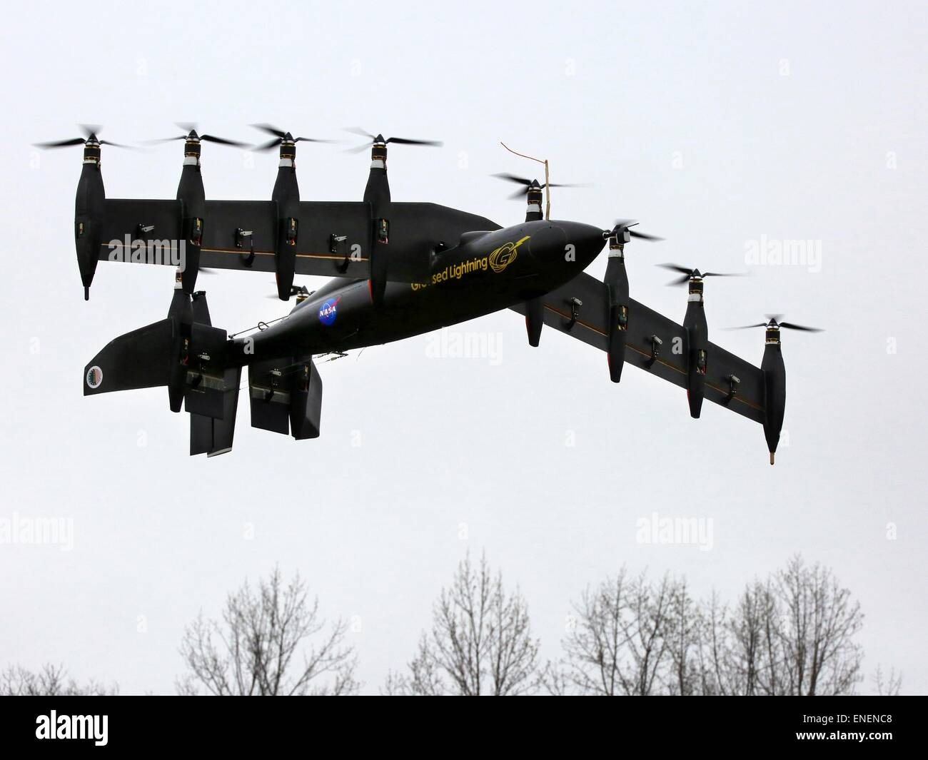 The prototype 10 engine battery-powered plane called Greased Lightning developed by NASA's Langley Research - Stock Image