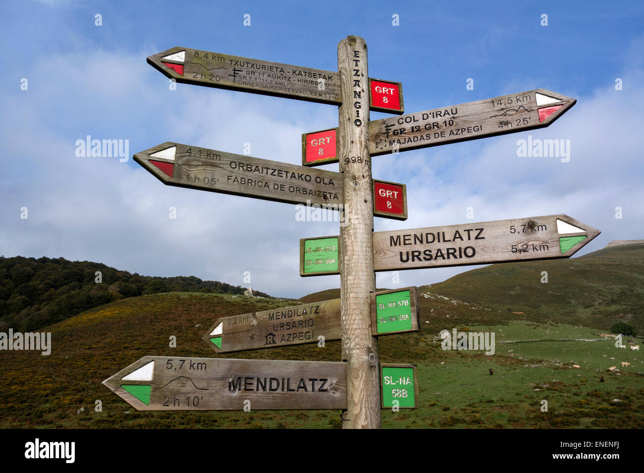 Sig post indicating trekking routes and distances. Pyrenees. Navarra. Spain - Stock Image