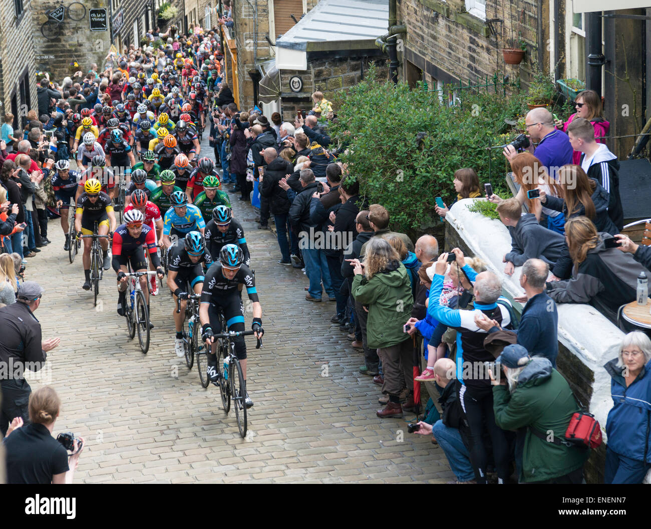 Lars Petter Nordhaug in light blue leader jersey and Team Sky - Stock Image