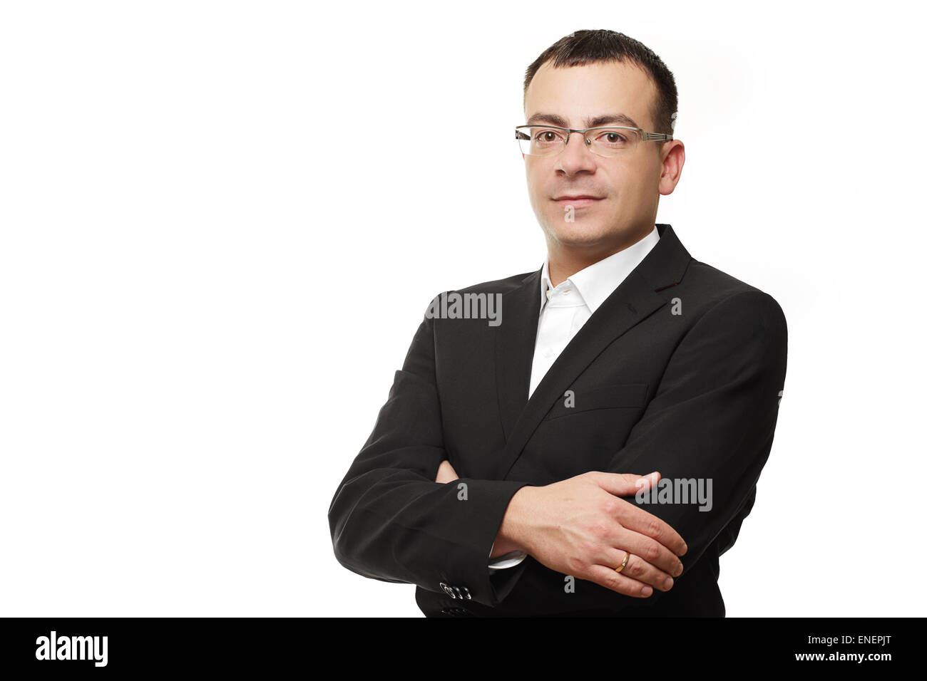 Businessman or CEO smart acting isolated on white background - Stock Image