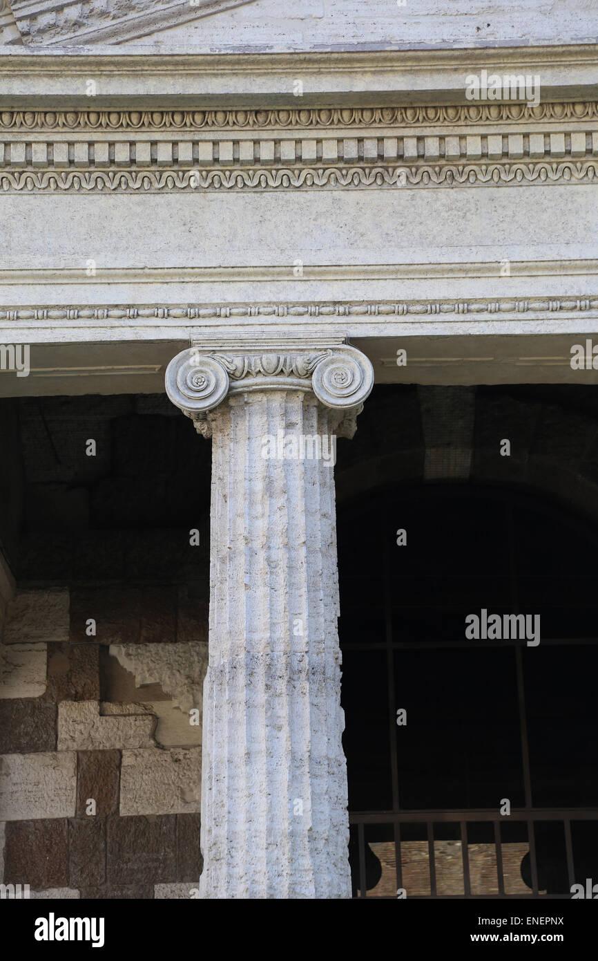 Italy. Rome. Temple of Portunus. Dedicated to the god Portunus. Ionic order. Forum Boarium. 1st century BC. Republic - Stock Image