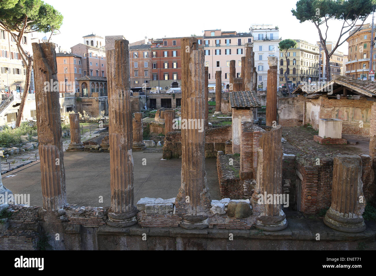 Italy. Rome. The Sacred area of Largo di Torre Argentina. Ruins of Republican Roman temples. Ancient Campus Martius. - Stock Image