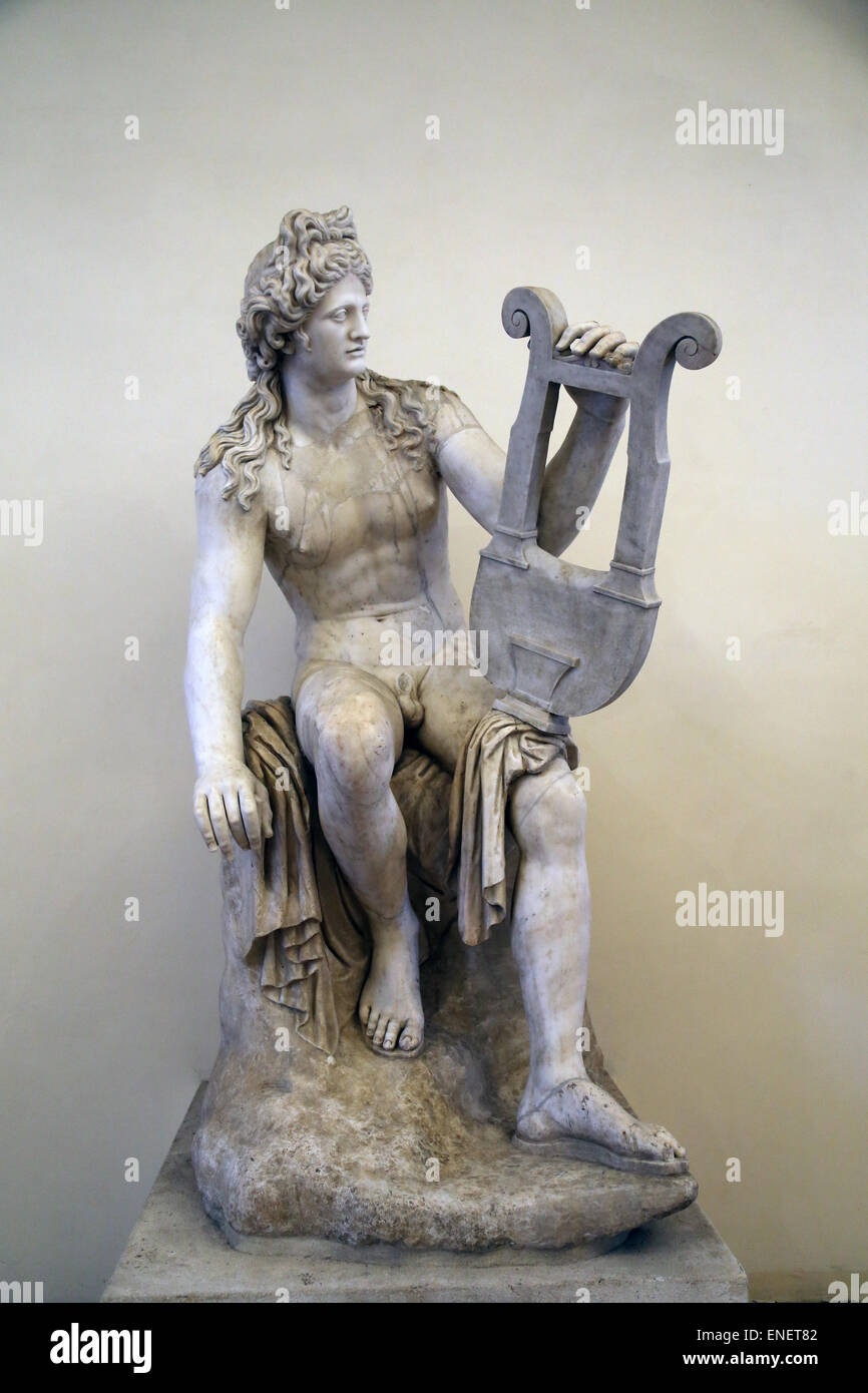 Apollo with Lyre. Roman statue. National Roman Museum. Palazzo Altemps. Rome. Italy. - Stock Image