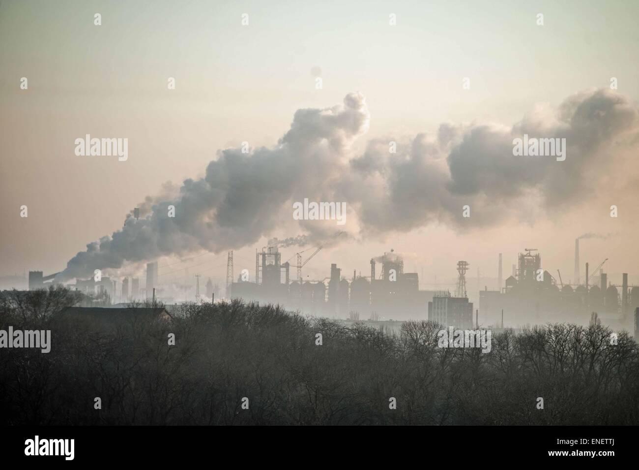 The Azovstal steel works in Mariupol, Ukraine. - Stock Image