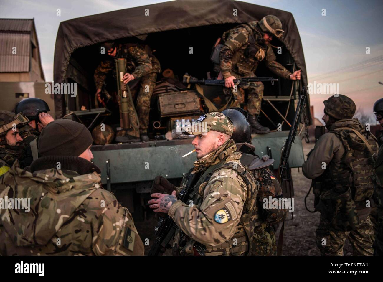 Fighters from the Azov battalion return from the front line in eastern ukraine. - Stock Image