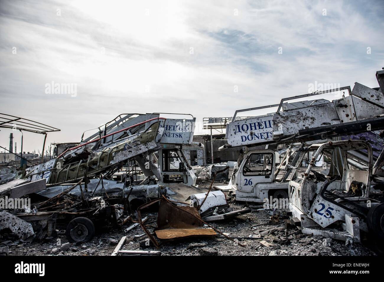 Donetsk airport has been largely destroyed by the conflict in Eastern Ukraine - Stock Image