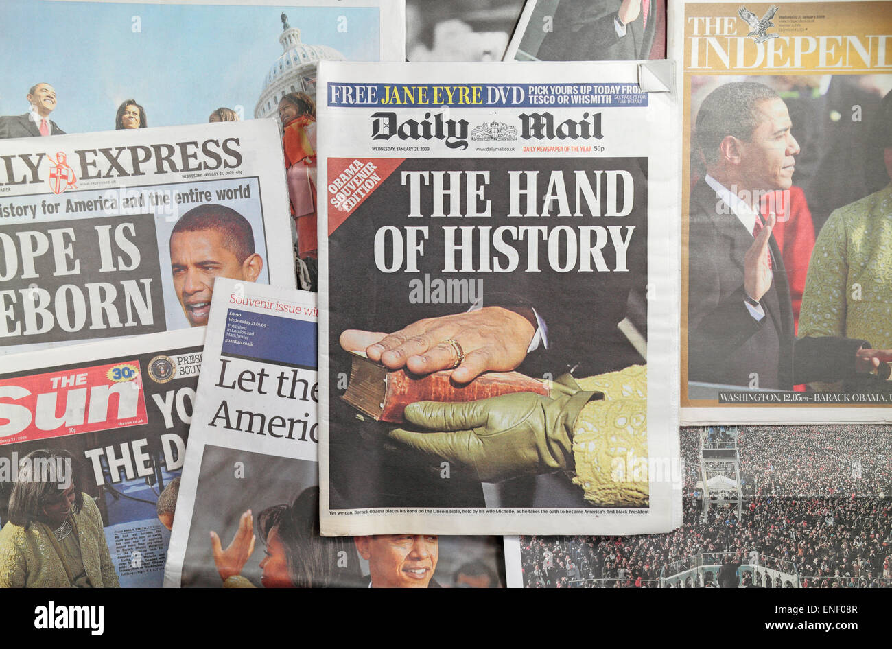 British newspapers following the inauguration of President Barack Obama on 20th January 2009. - Stock Image