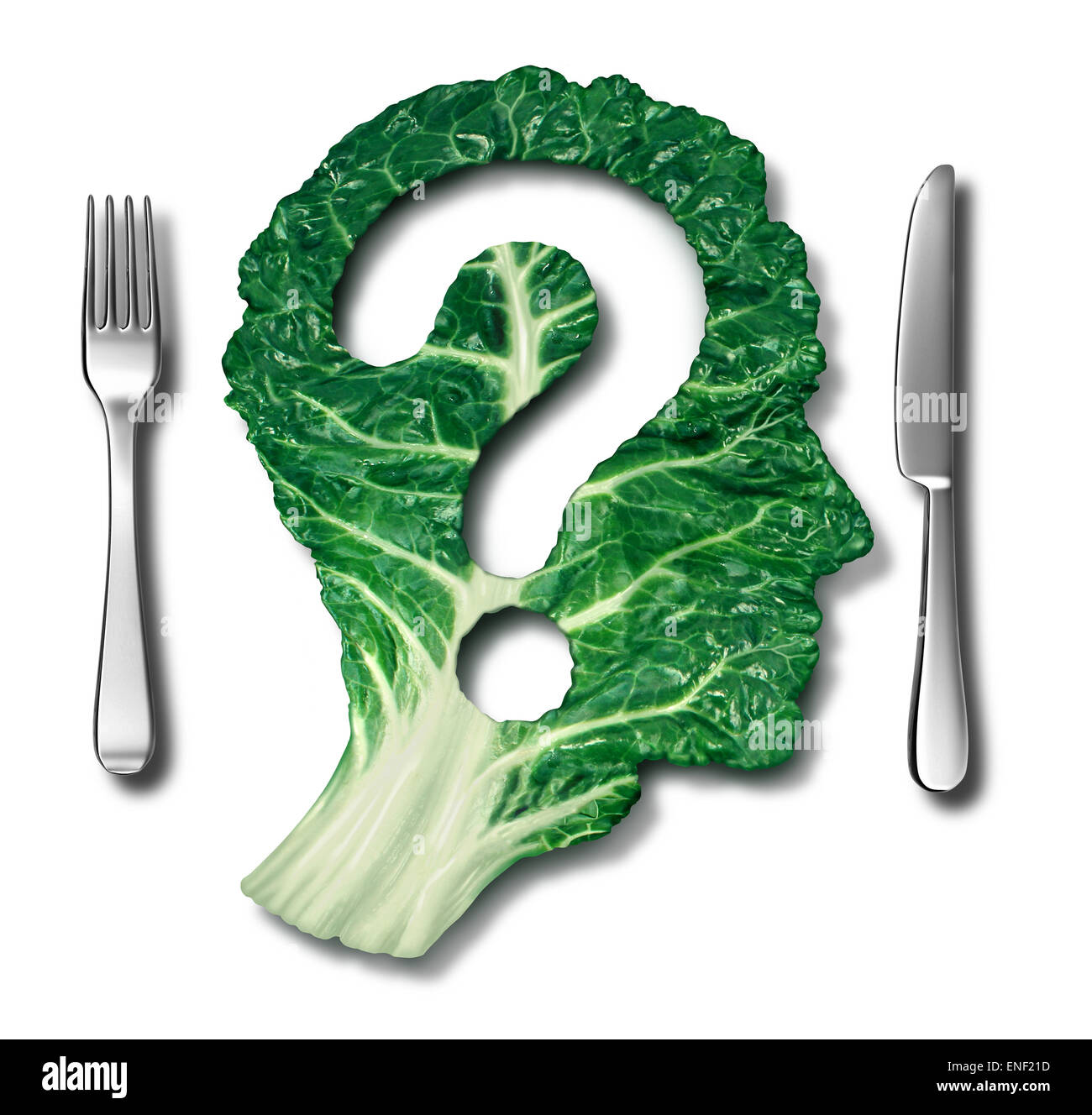 Healthy eating questions and green diet concept as a leafy vegetable in the shape of a question mark as a symbol - Stock Image