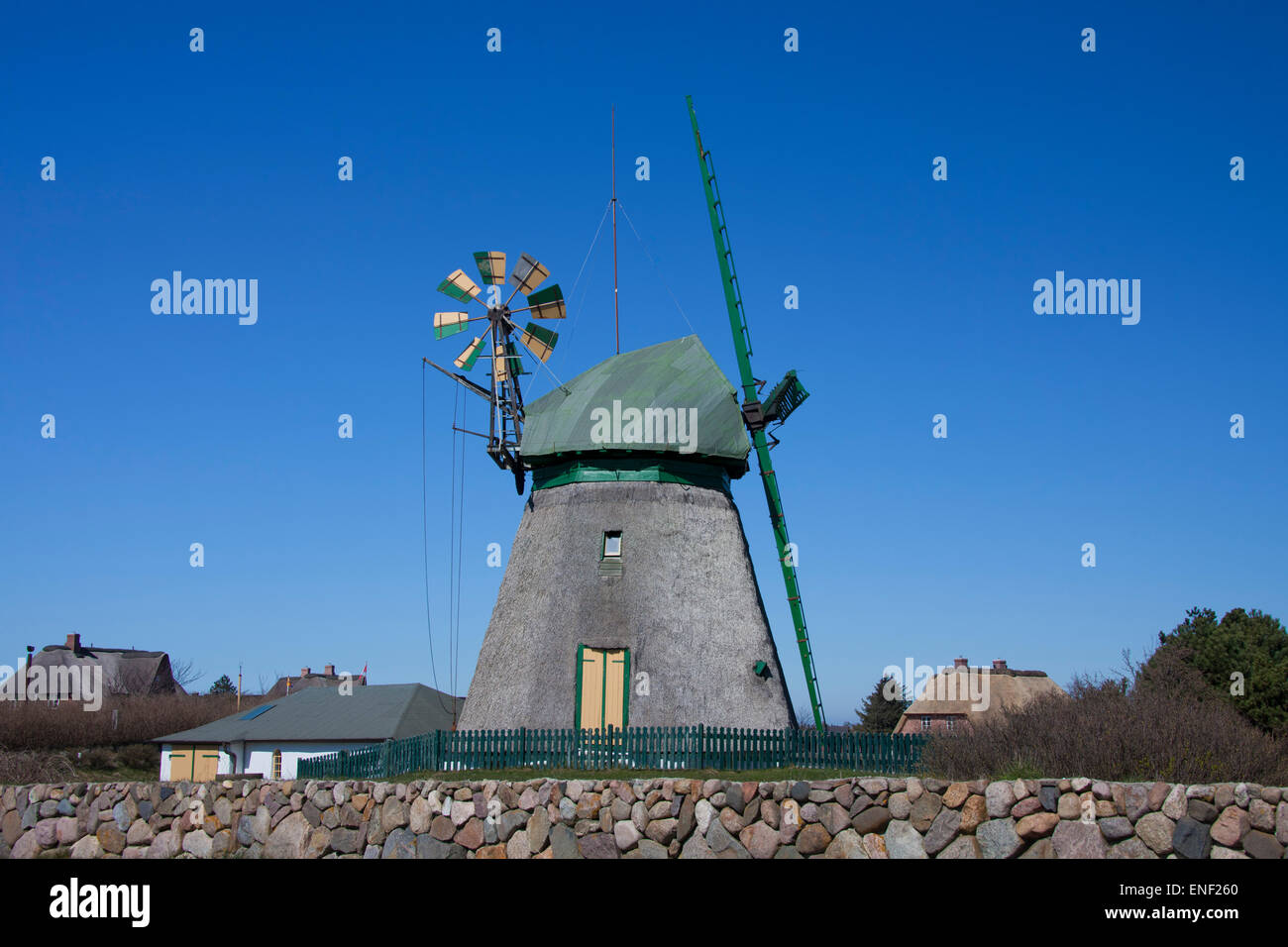 Traditional windmill at Nebel, Amrum island, Nordfriesland / Northern Friesland, Schleswig-Holstein, Germany Stock Photo