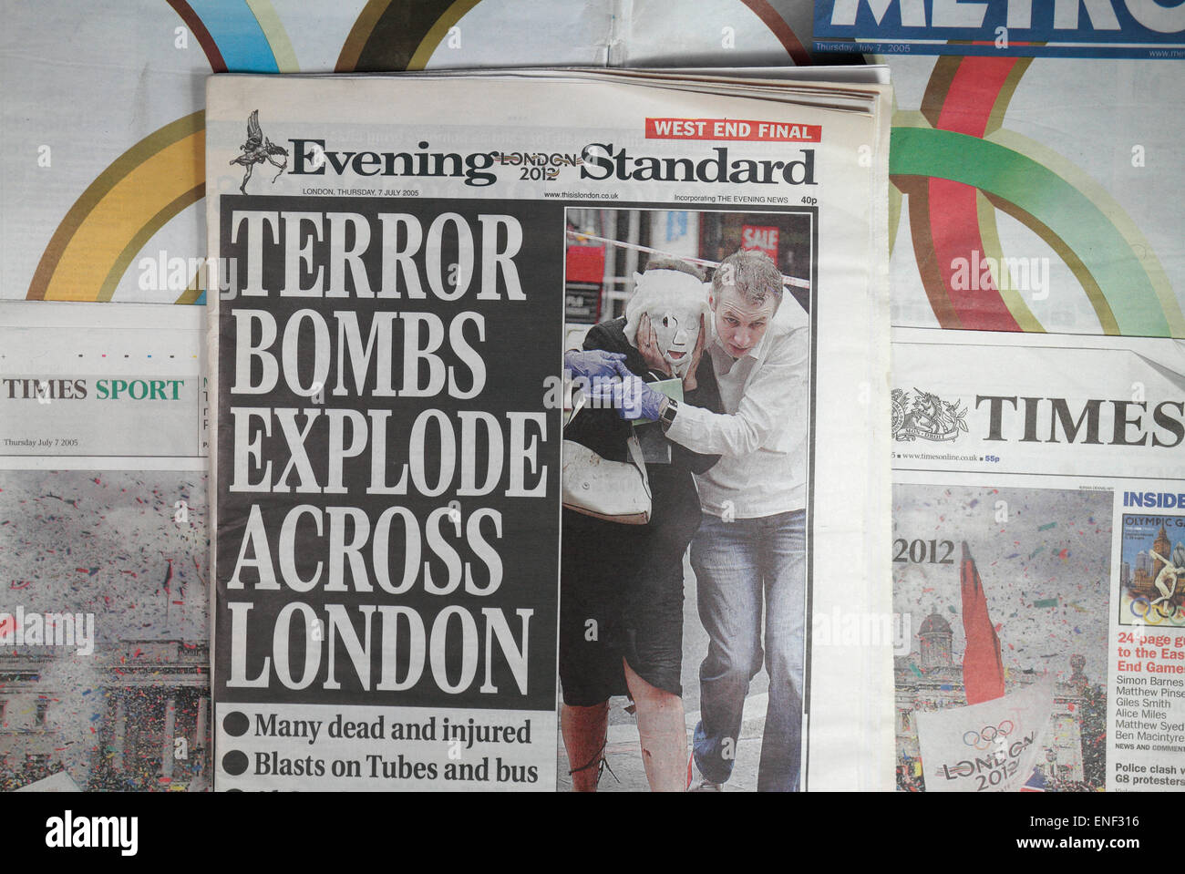 Newspapers published on 7th July 2005 before and after the terrorists attacks. (SEE NOTES) - Stock Image
