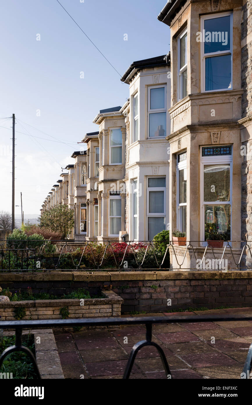 A row of bay-windows in perspective in a street of Victorian terraced houses in the Totterdown area of Bristol, - Stock Image