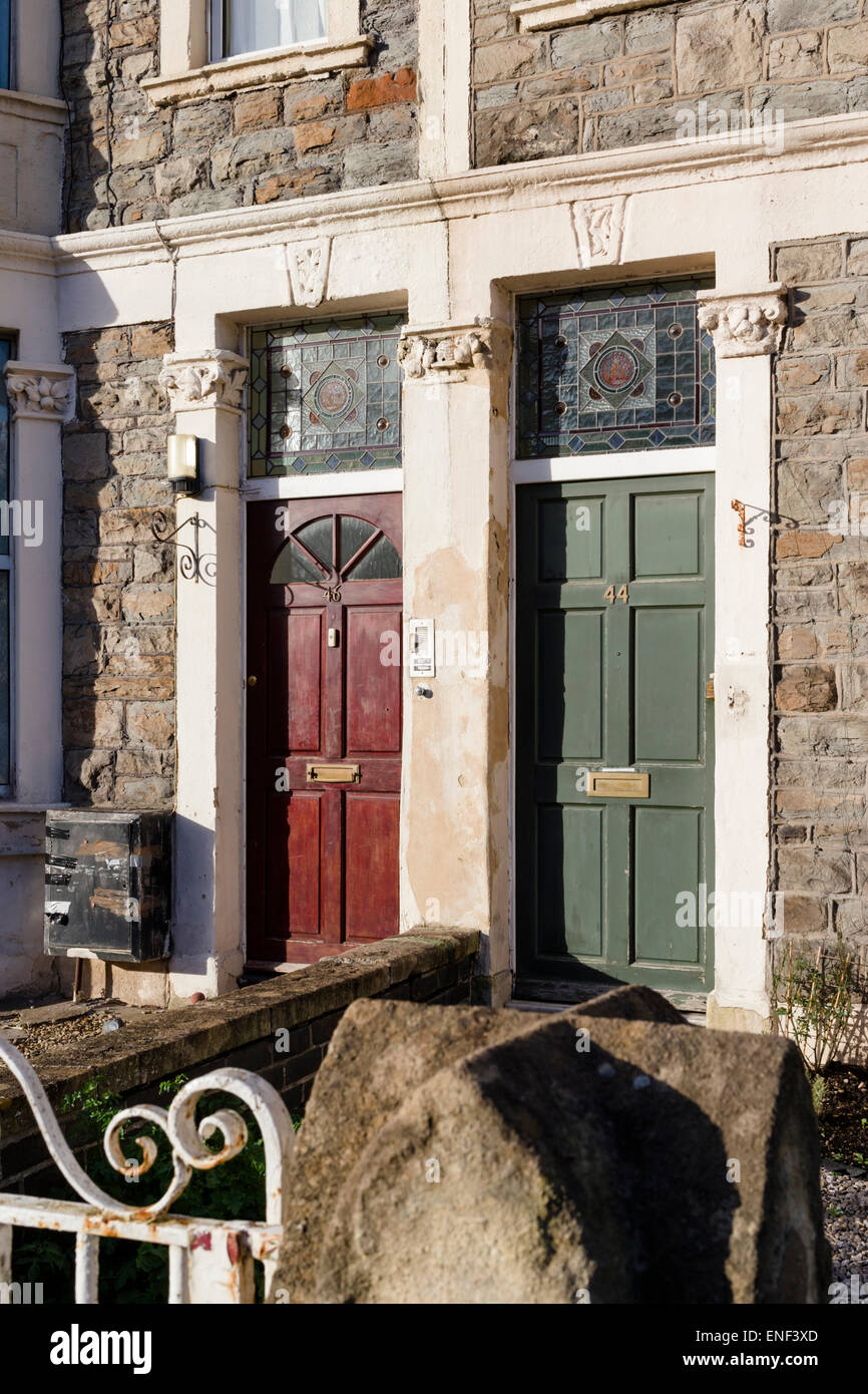 Neighbouring Front Doors With Stained Glass Fanlights Of Victorian