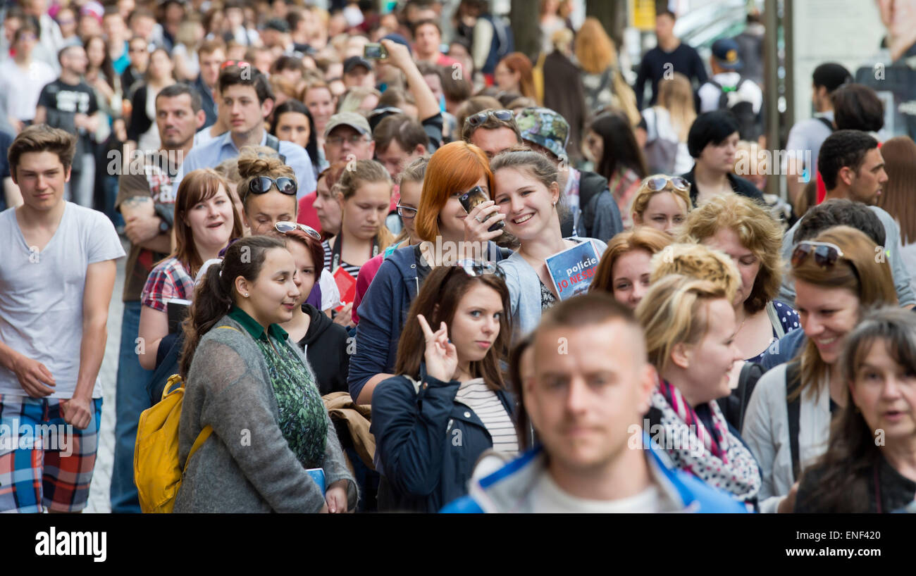 prague czech republic 4th may 2015 hundreds of people are