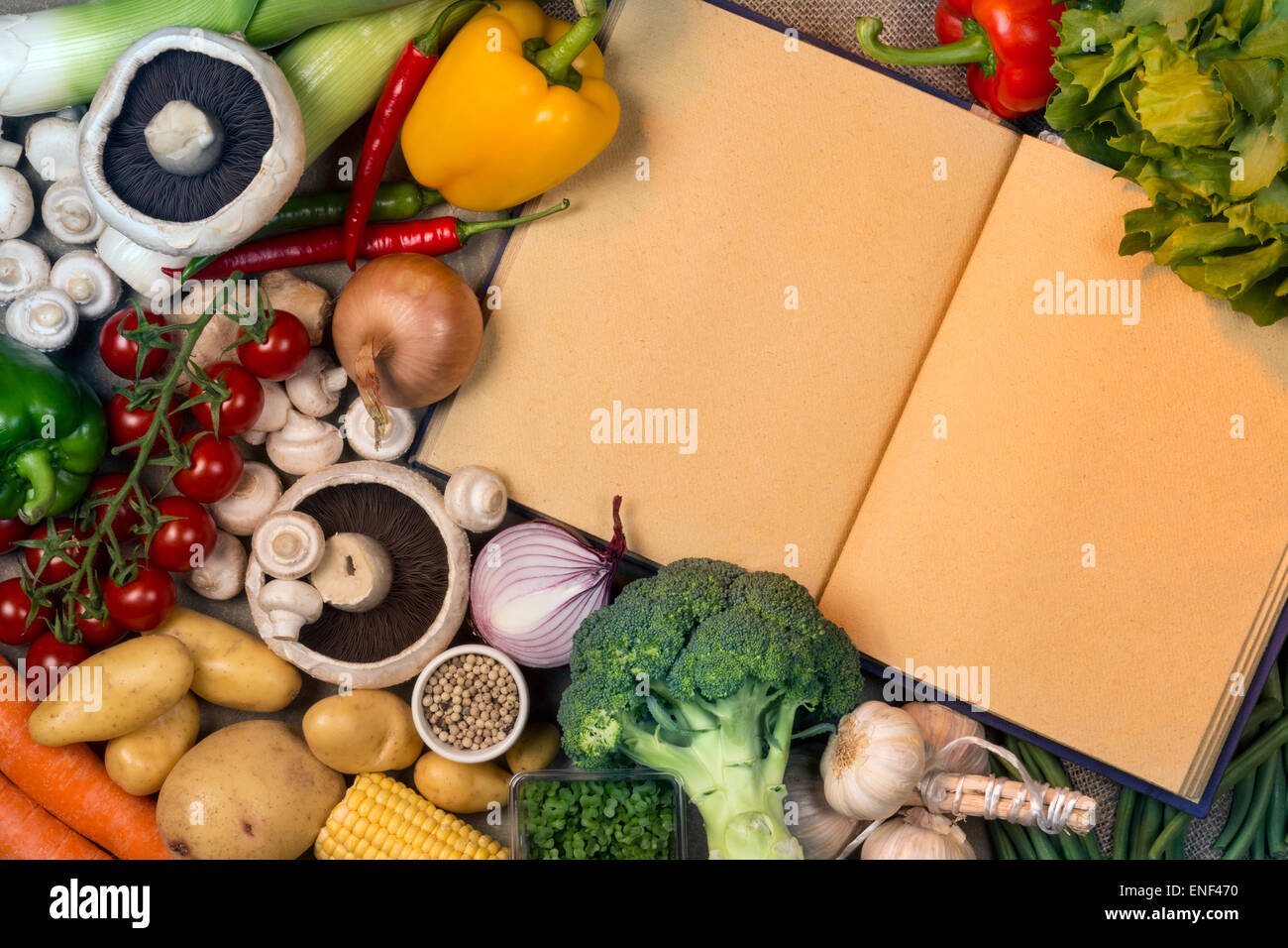 Fresh vegetables and recipe book with blank pages - Space for your Text - Stock Image