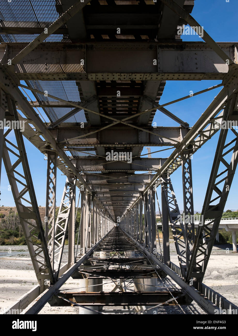 The Awatere river bridge, double decker with rail and car lanes above and below, now only used by trains, Marlborough, - Stock Image