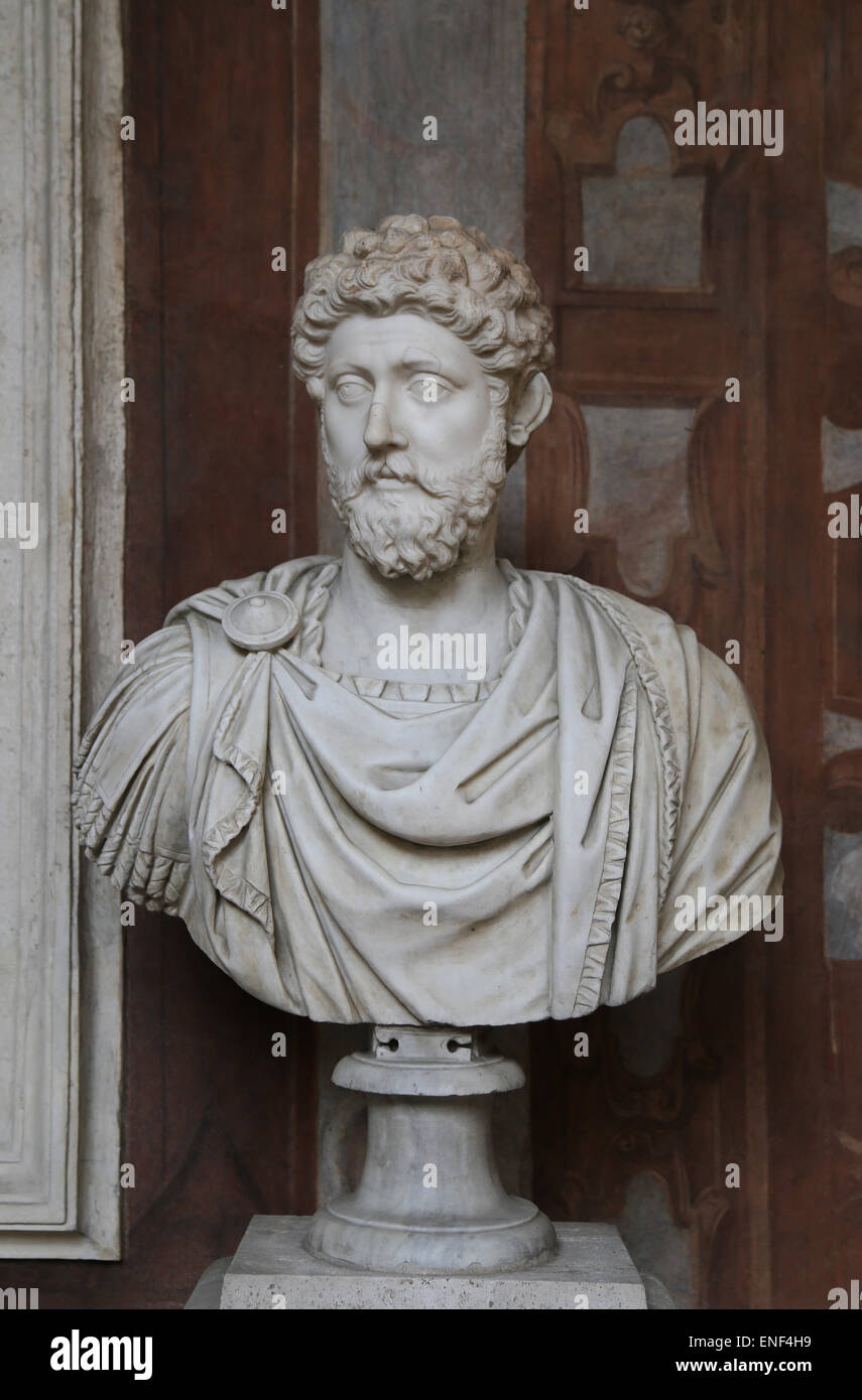 Marcus Aurelius (121-180 AD). Roman Emperor from 161-180. Stoic philosopher. Antonine Dynasty. Bust. National Roman - Stock Image