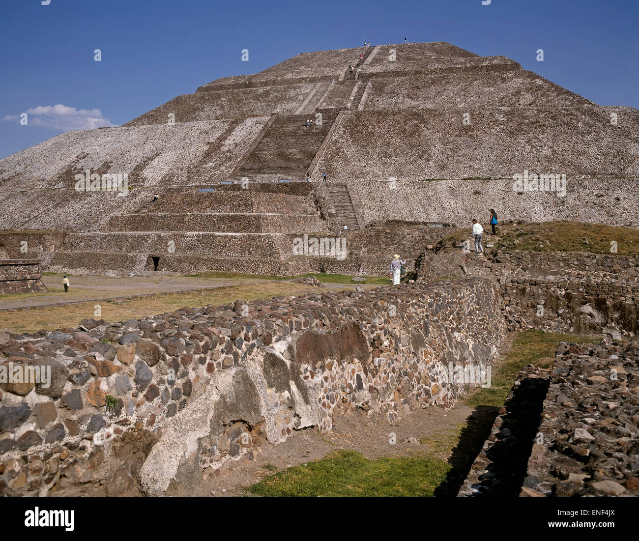 Teotihuacan, Mexico.  Pyramid of the Sun.  Pre-Hispanic City of Teotihuacan is a UNESCO World Heritage Site. - Stock Image