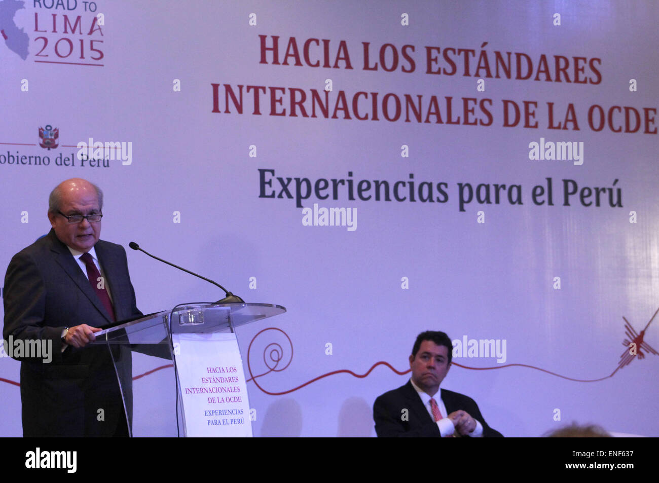 Lima, Peru. 4th May, 2015. The President of Peru's Ministries Council, Pedro Cateriano, delivers a speech during - Stock Image