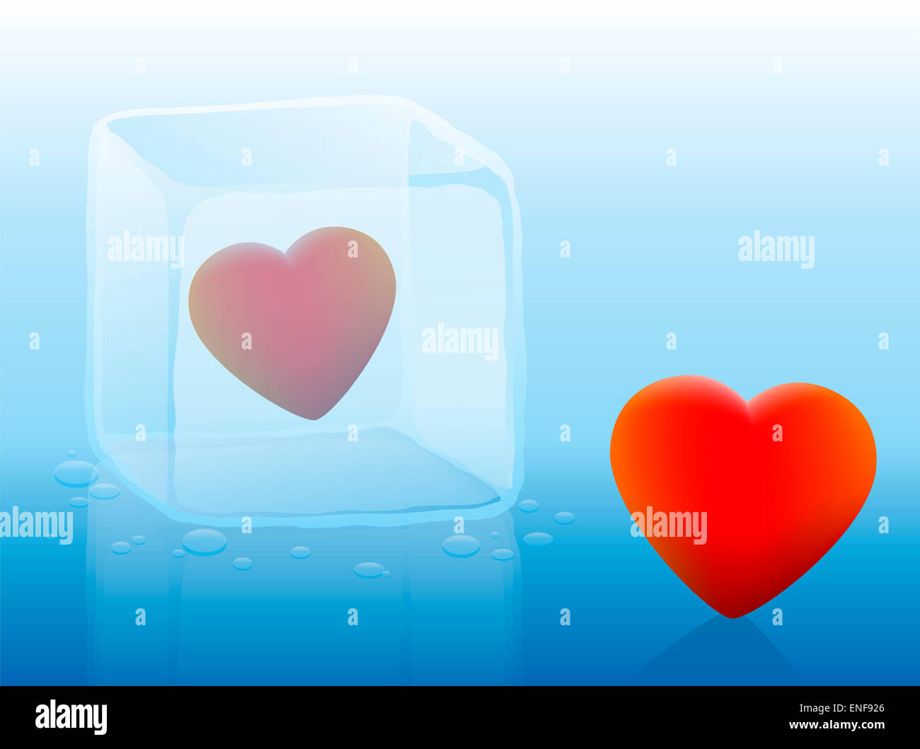 Cold heart inside an ice cube and warm heart outside. - Stock Image
