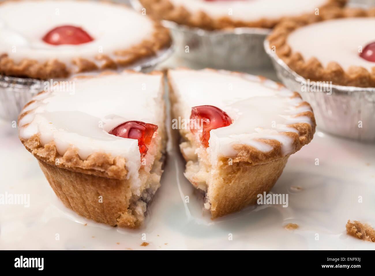 Cherry Bakewell tart - Stock Image