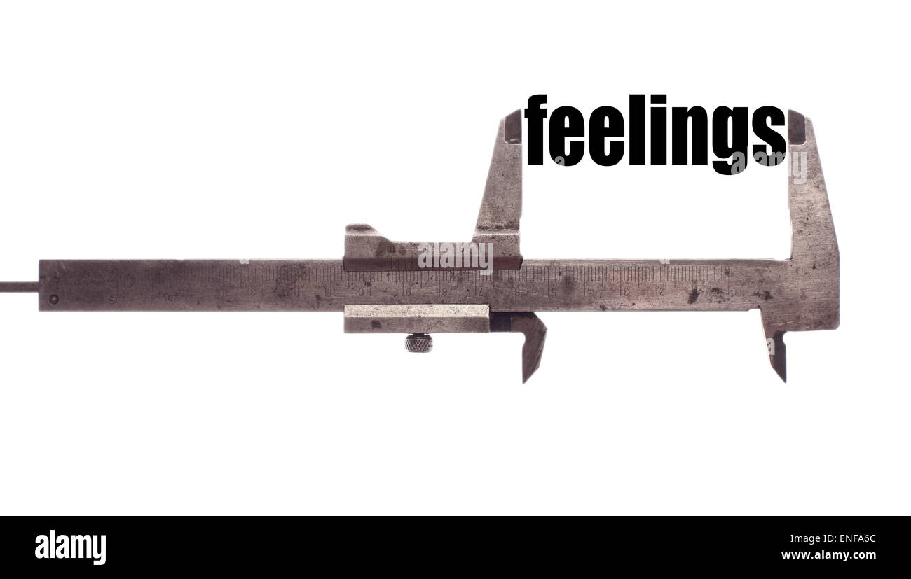 Color horizontal shot of a caliper and measuring the word 'feelings'. - Stock Image