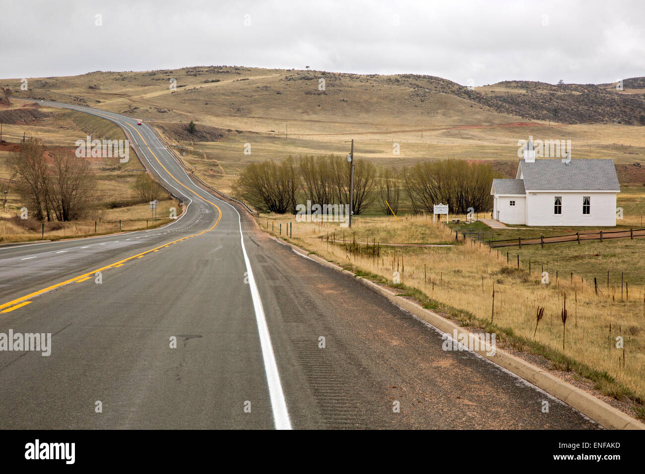 Virginia Dale, Colorado - The Virginia Dale Community Church, on an isolated stretch of US 287 in northern Colorado. - Stock Image