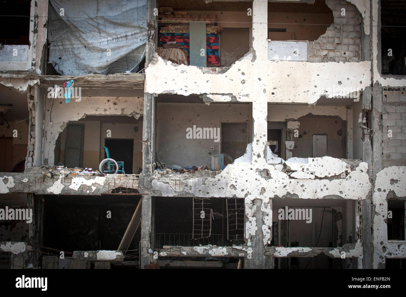 Bomb damage from Israel's 2014 'Operation Protective Edge' hostilities with the Gaza Strip. Beit Hanoun,Gaza - Stock Image