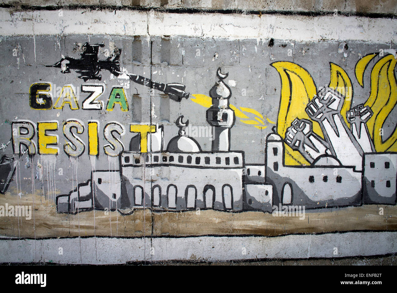 Graffiti in Gaza City - Stock Image