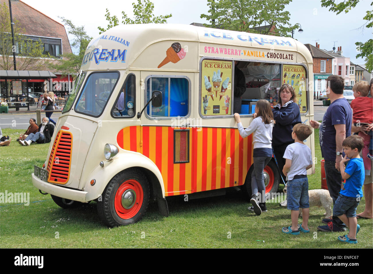 Morris Commercial J-Type Ice Cream Van, KFL 954, Carter's Steam Fair. Traditional historic travelling fairground - Stock Image
