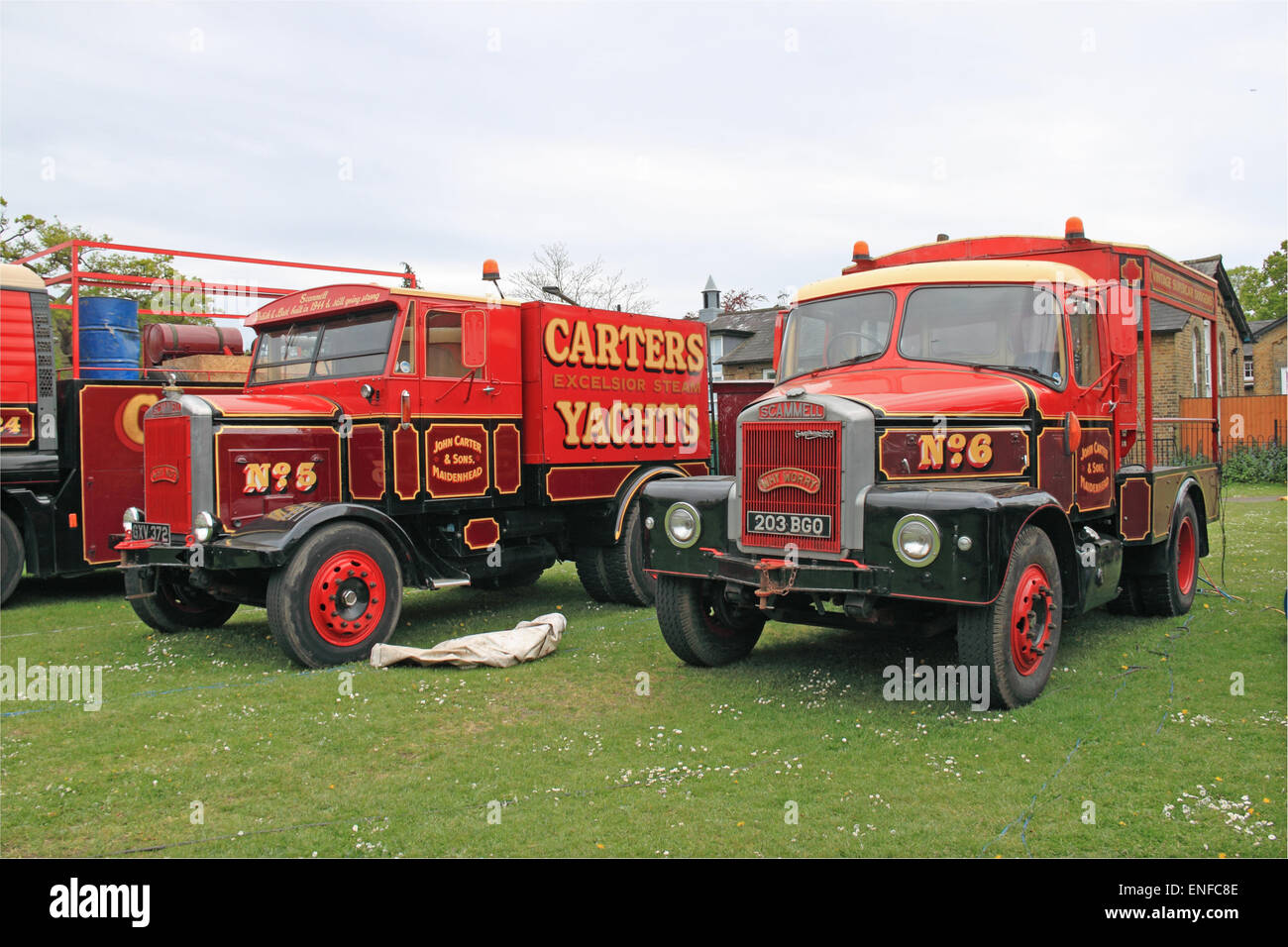 1944 and 1961 Scammell lorries, Carter's Steam Fair. Traditional historic travelling fairground rides and attractions. - Stock Image