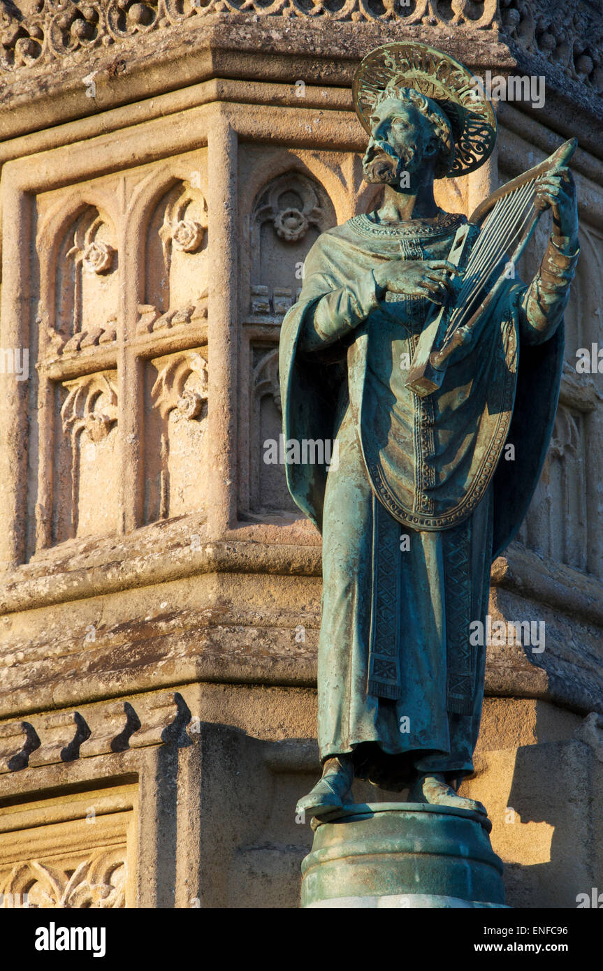 Monuments. A bronze statuette of St Aldhelm, a detail from the ornate Victorian Wingfield Digby Memorial, outside Stock Photo