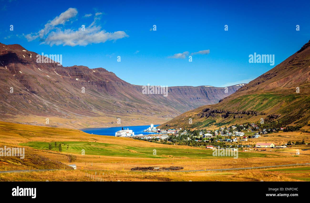 Town of Seydisfjordur in Eastern Iceland and the fjord - Stock Image