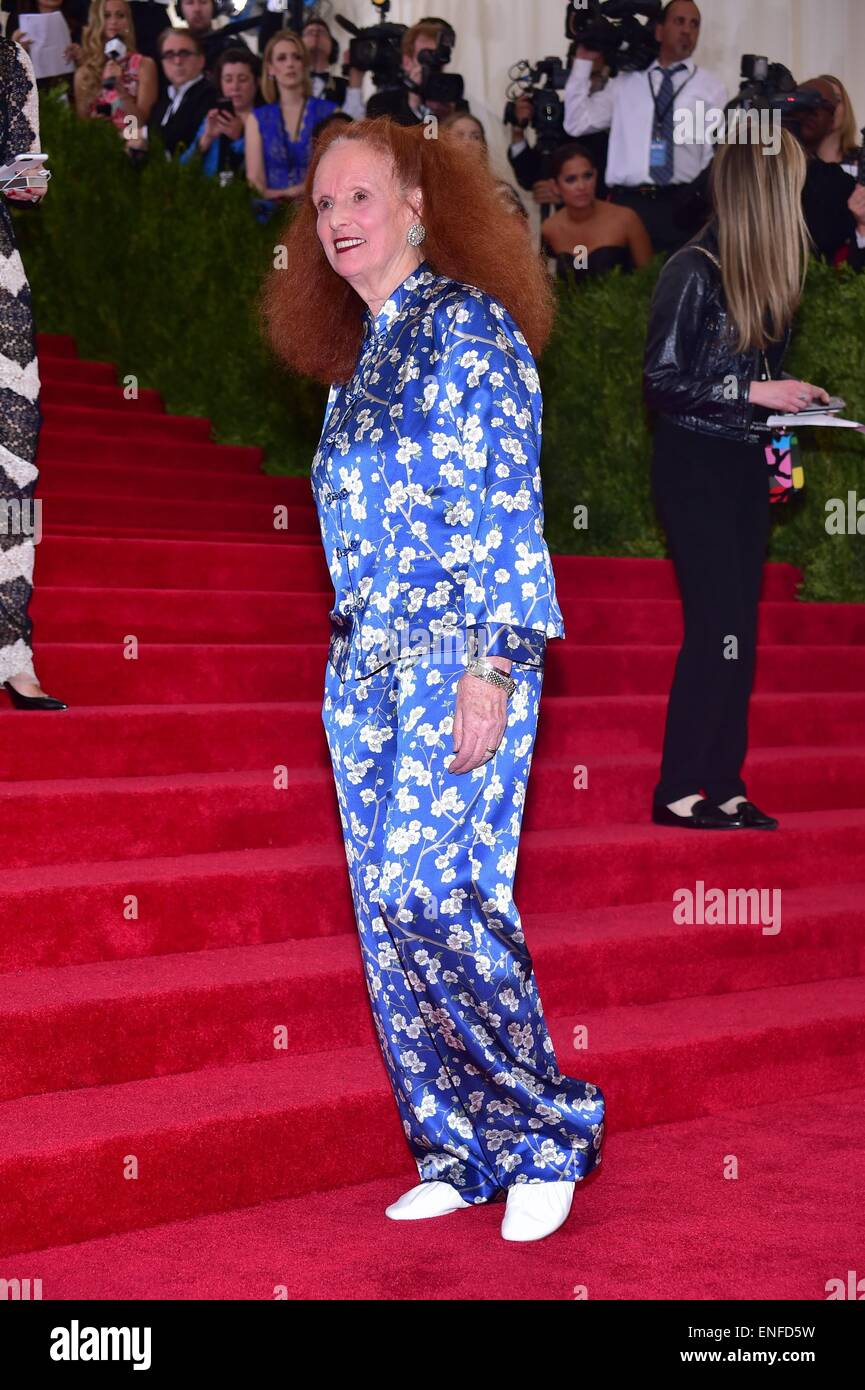 New York, NY, USA. 4th May, 2015. Grace Coddington at arrivals for 'CHINA: Through The Looking Glass' Opening - Stock Image