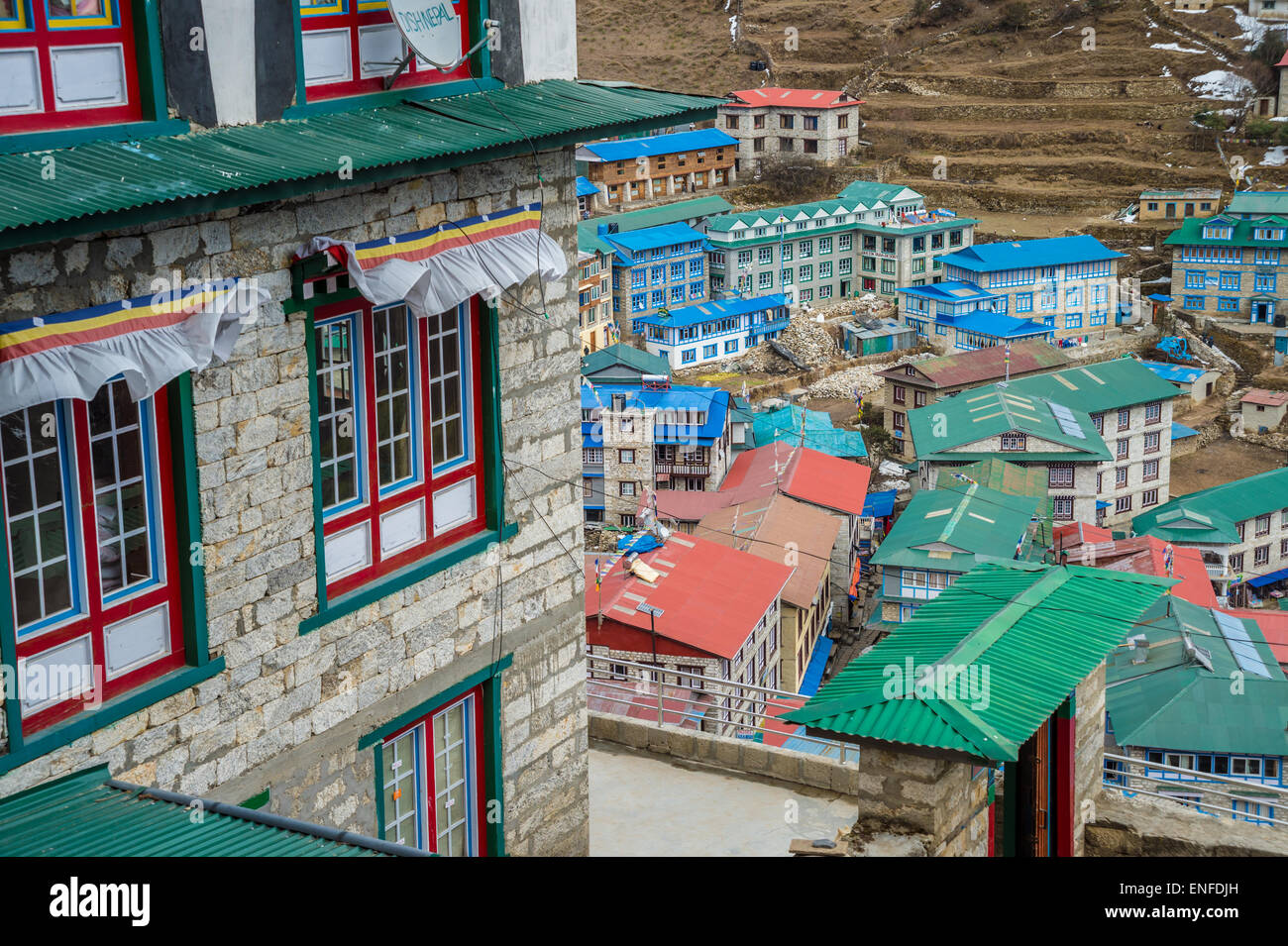 Namche Bazaar, Nepal - 16 March 2015: Aerial view of Namche Bazaar in the Everest Region of Nepal - Stock Image