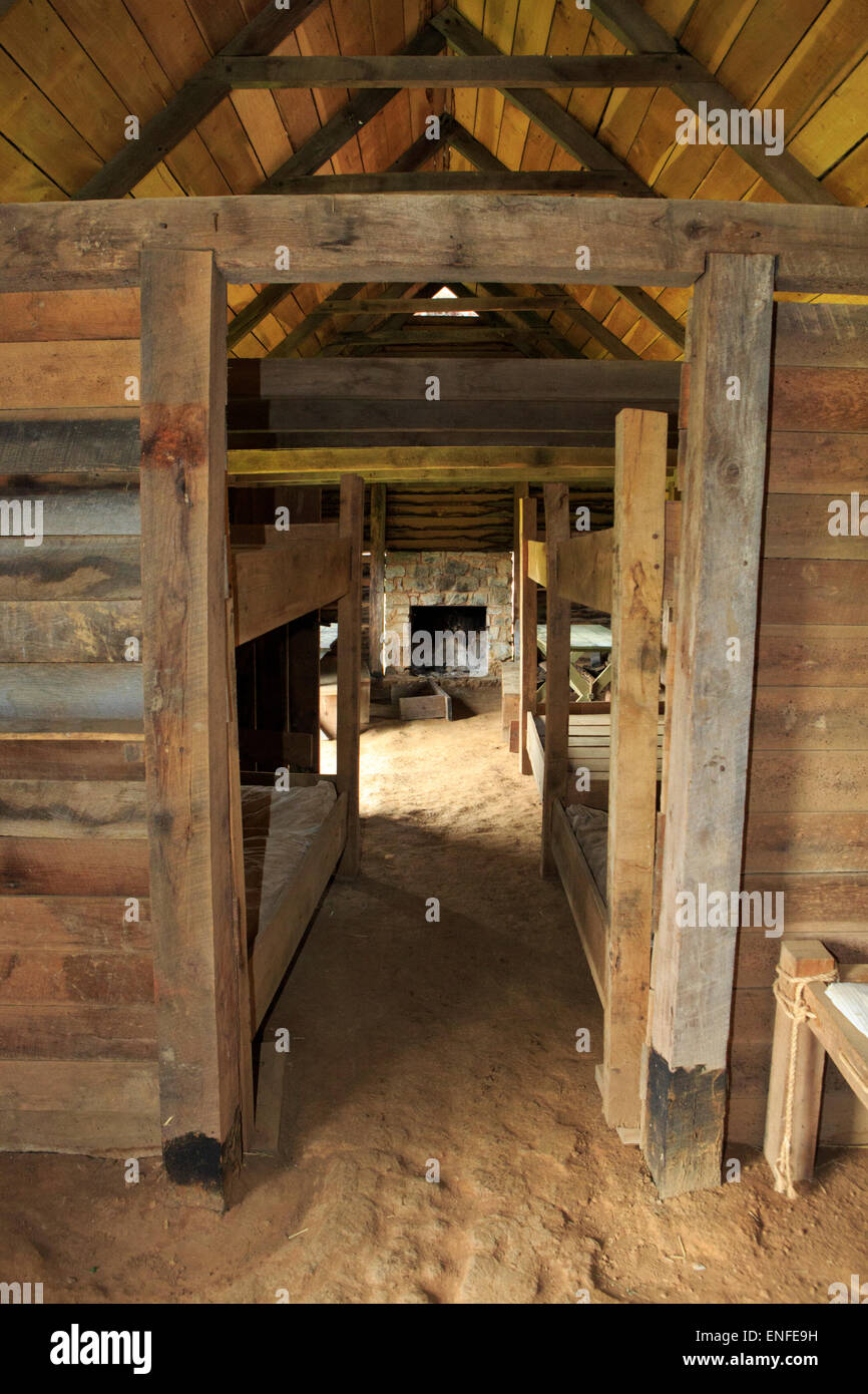 Barracks interior at Fort Loudoun State park, TN, historical French and Indian wars site. - Stock Image