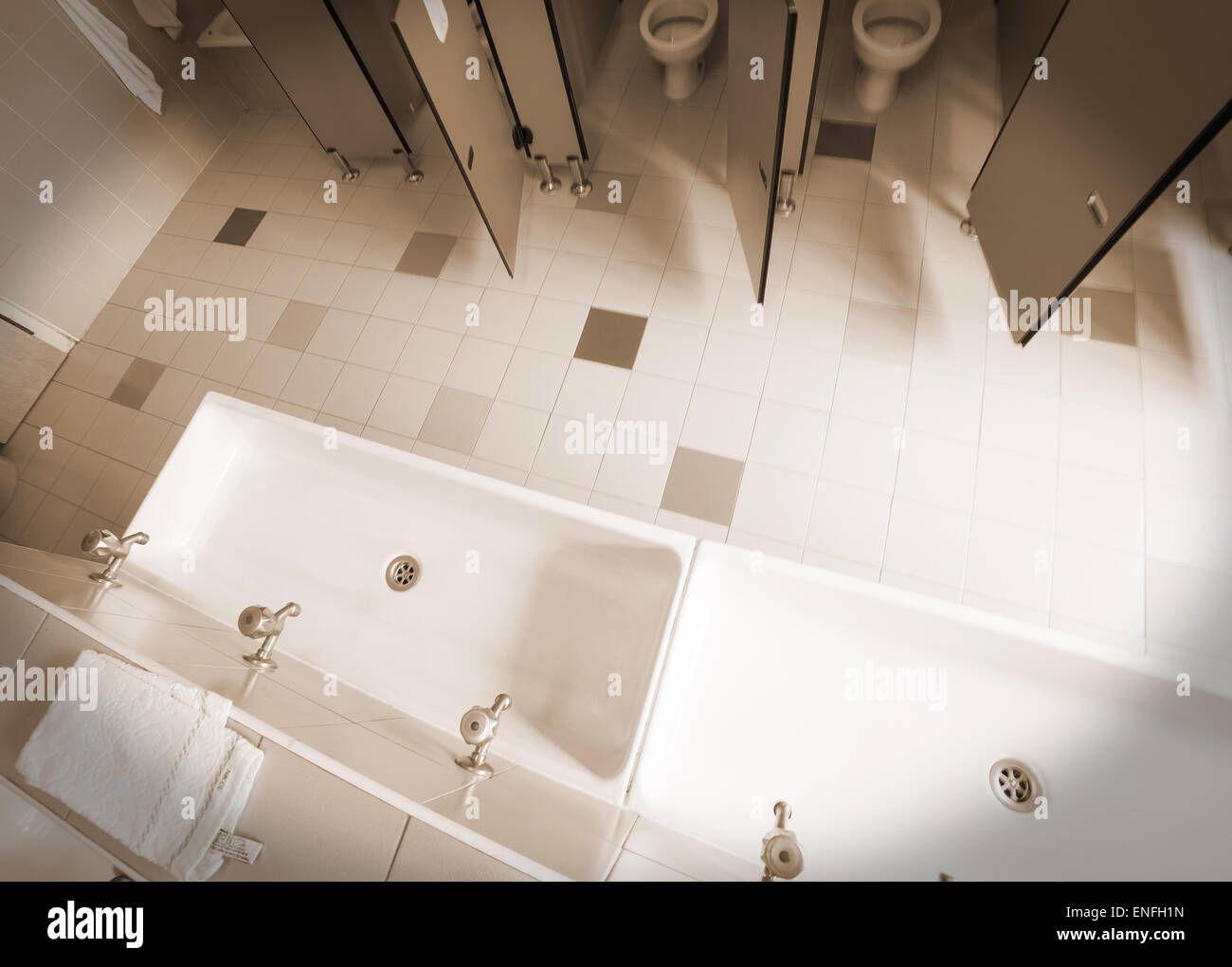 the bathroom nursery school photographed from above with speia effect - Stock Image