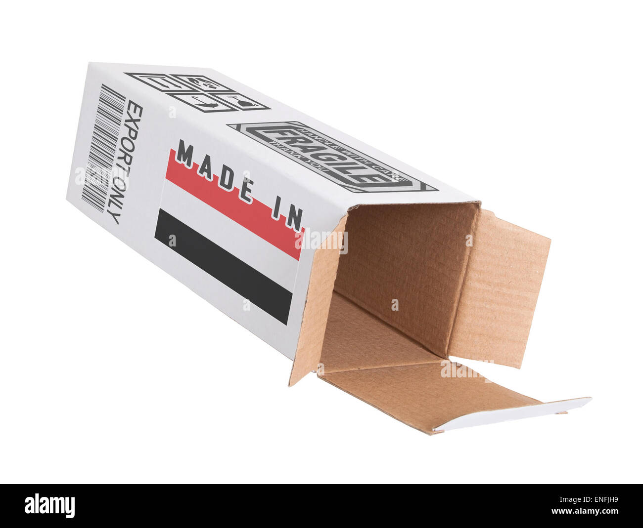 Concept of export, opened paper box - Product of Yemen - Stock Image