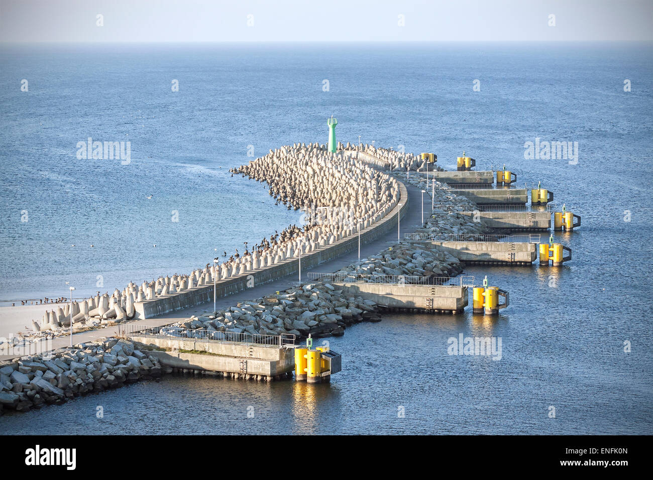 Port entrance and infrastructure in Kolobrzeg, Poland. - Stock Image