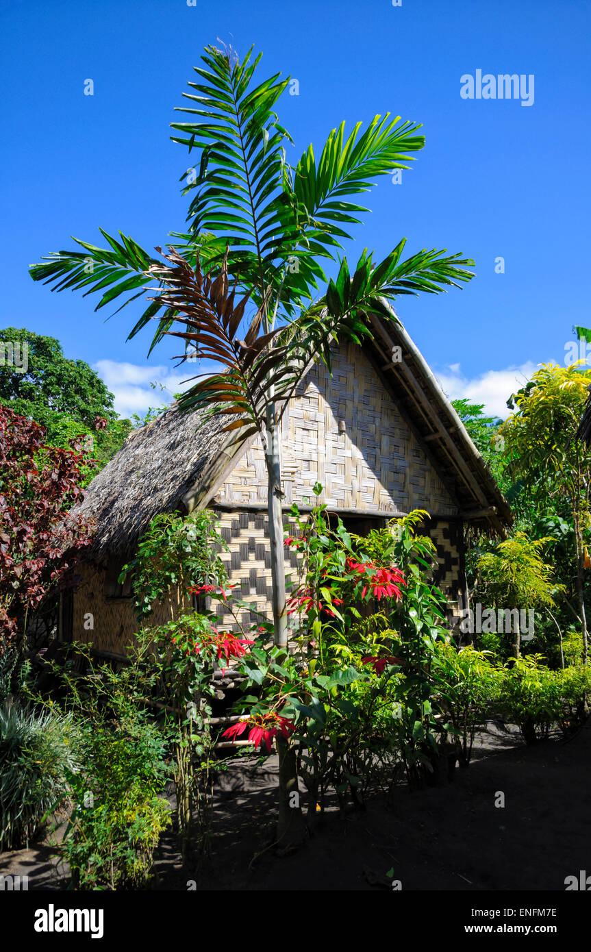 Traditional rustic house on a South Pacific island. Woven palm front walls. Hut madefromwoven palm fronds,Tanna,Vanuatu. - Stock Image