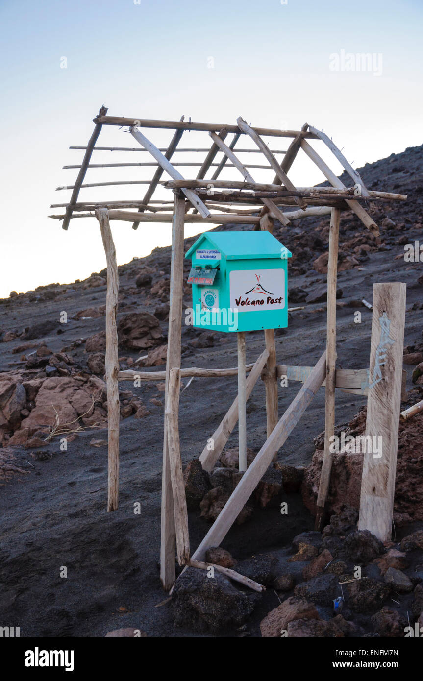 Touristy postbox on the slops of Mount Yasur, a volcano on Tanna Island, Vanuatu, South Pacific. Click for details. Stock Photo