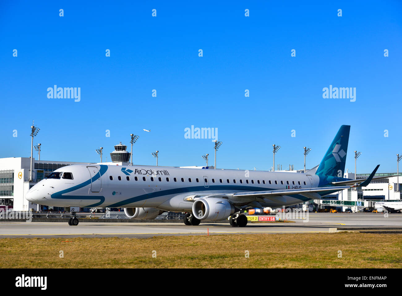 Air Dolomiti Embraer 195, Munich Airport Franz Josef Strauß, Erding, Munich, Upper Bavaria, Bavaria, Germany - Stock Image
