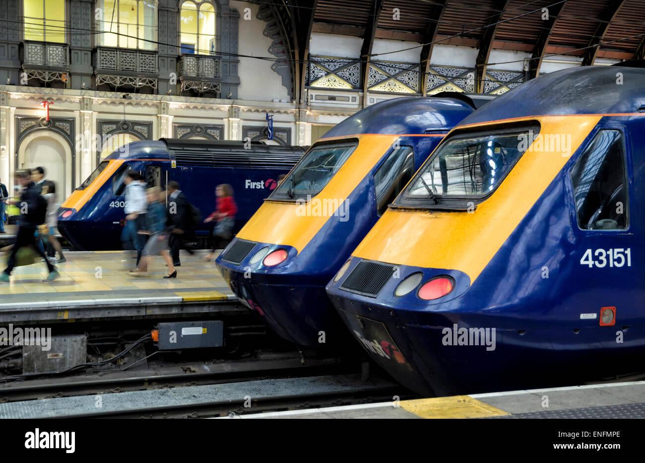 British high speed trains lined up at Paddington Station, London, UK. HST High speed rail transport - Stock Image