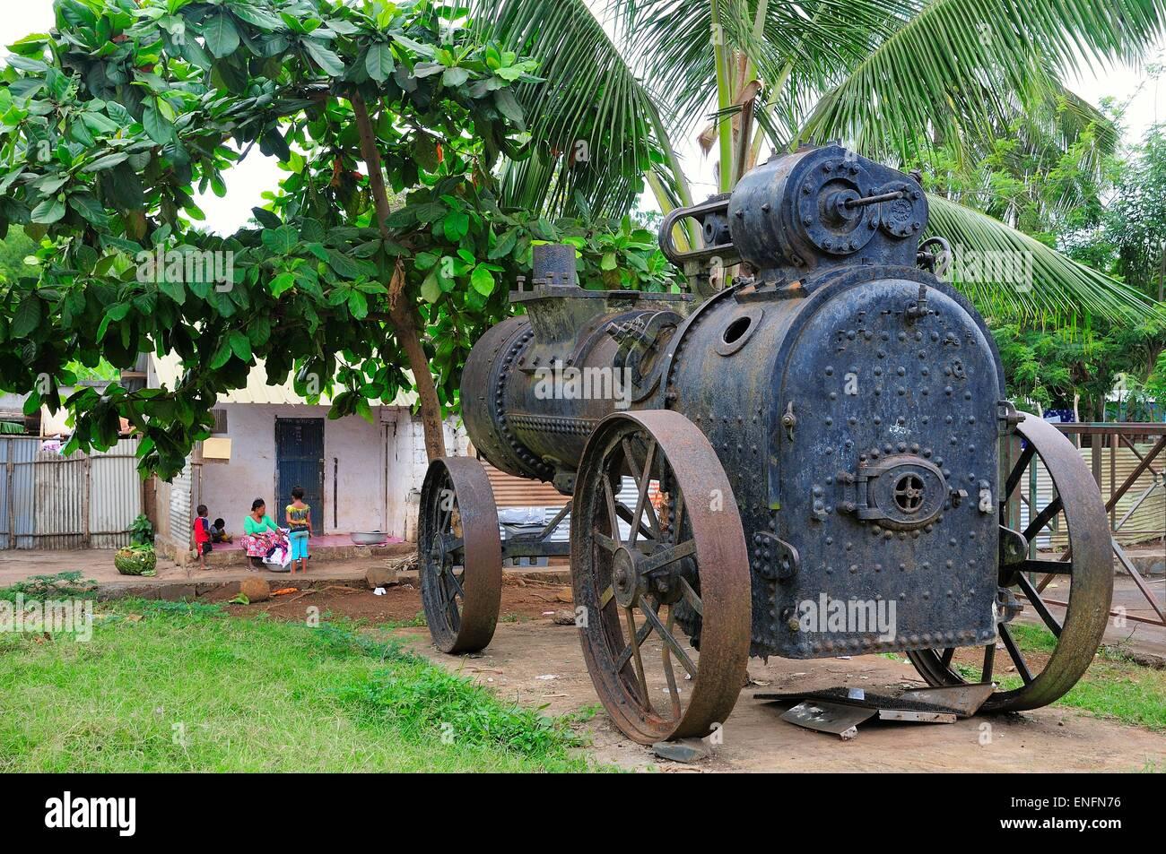 Old steam engine, Mamoudzou, Mayotte - Stock Image