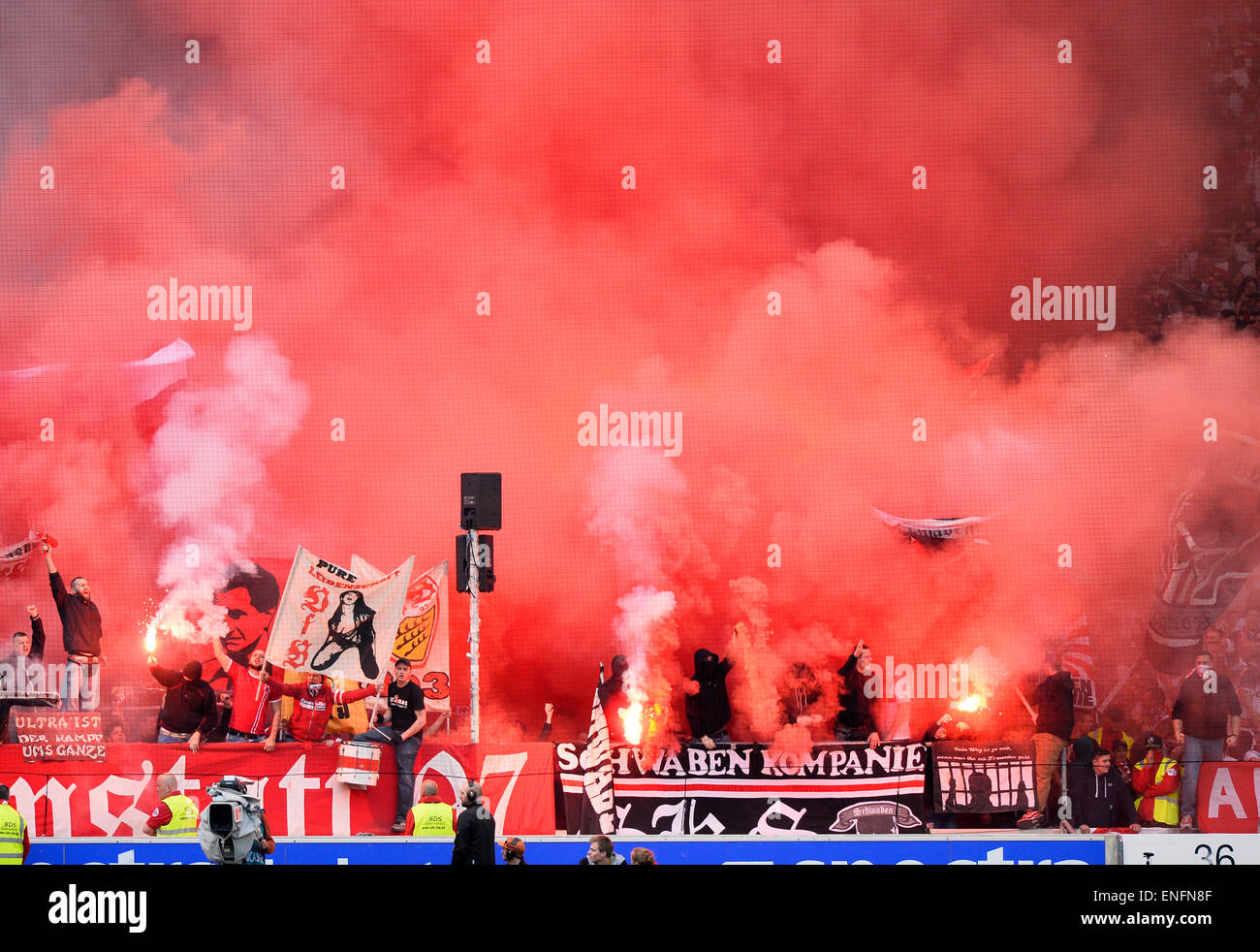 Bengal fireworks, smoke-bombs, Mercedes-Benz Arena, Stuttgart, Baden-Württemberg, Germany - Stock Image
