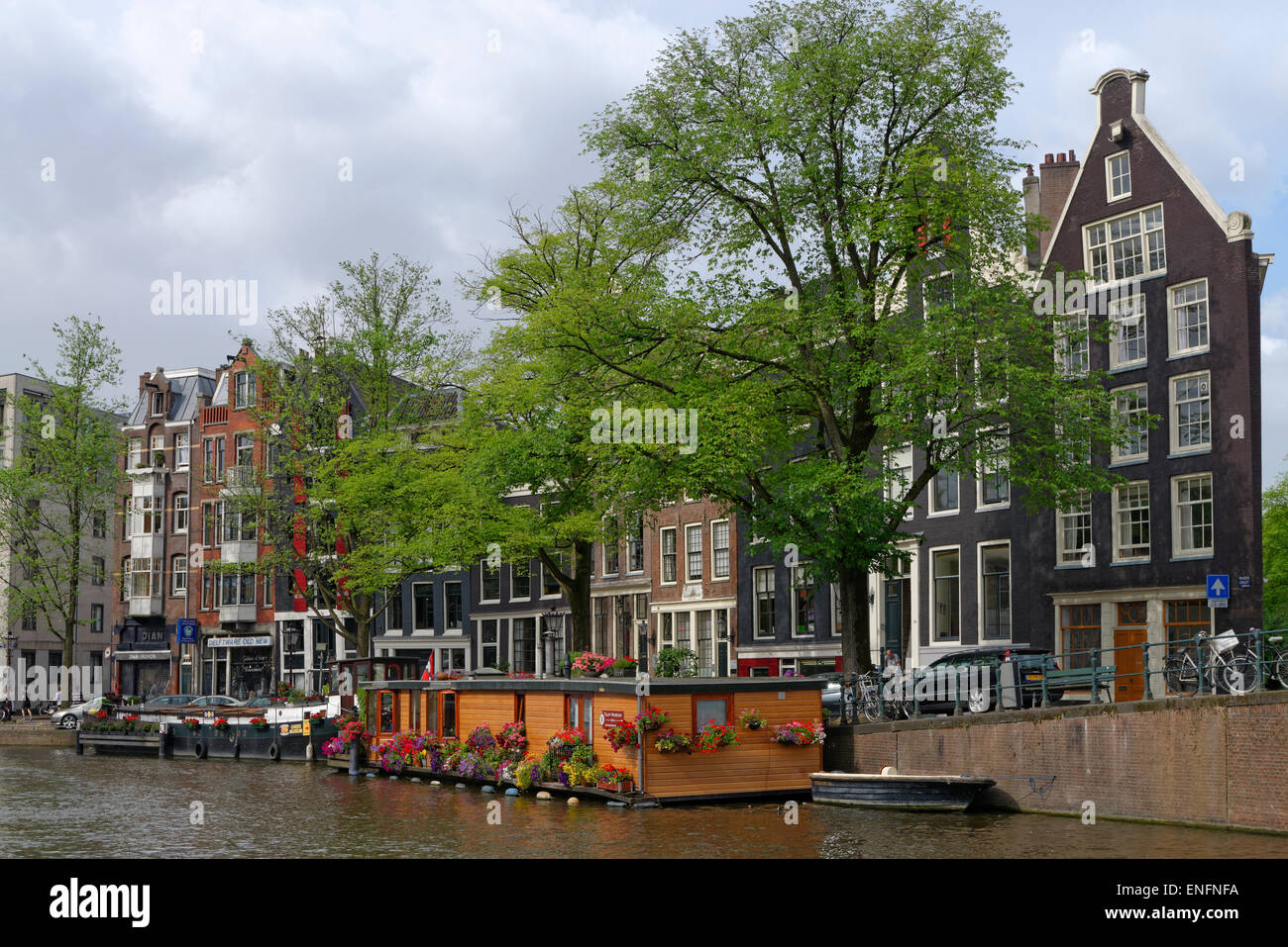 Houses on the Prinsengracht, historic centre along the canals, Amsterdam, The Netherlands - Stock Image