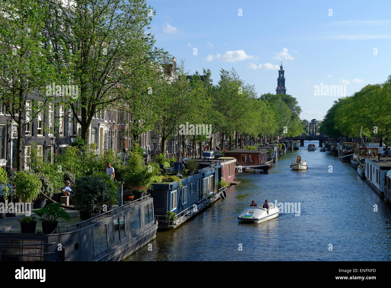 On the Prinsengracht with the Westerkerk, historic centre along the canals, Amsterdam, The Netherlands - Stock Image