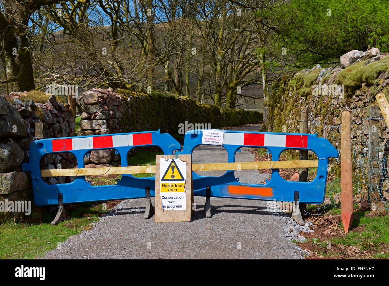 Blocked footpath in Eskdale, Lake District National Park, Cumbria, England UK - Stock Image
