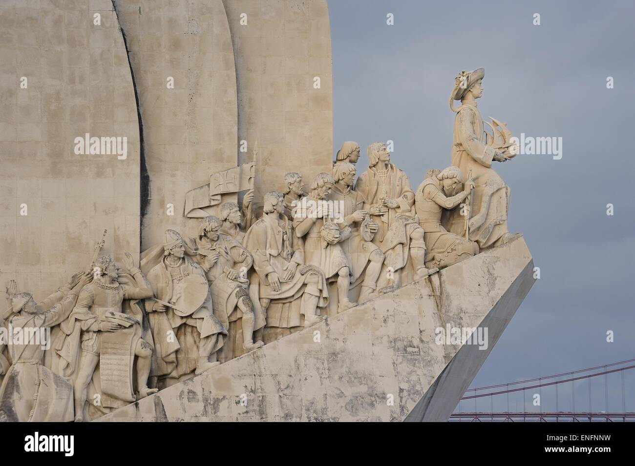 Padrao dos Descobrimentos, Monument to the Discoveries, sculpture with important figures of Portuguese seafaring - Stock Image