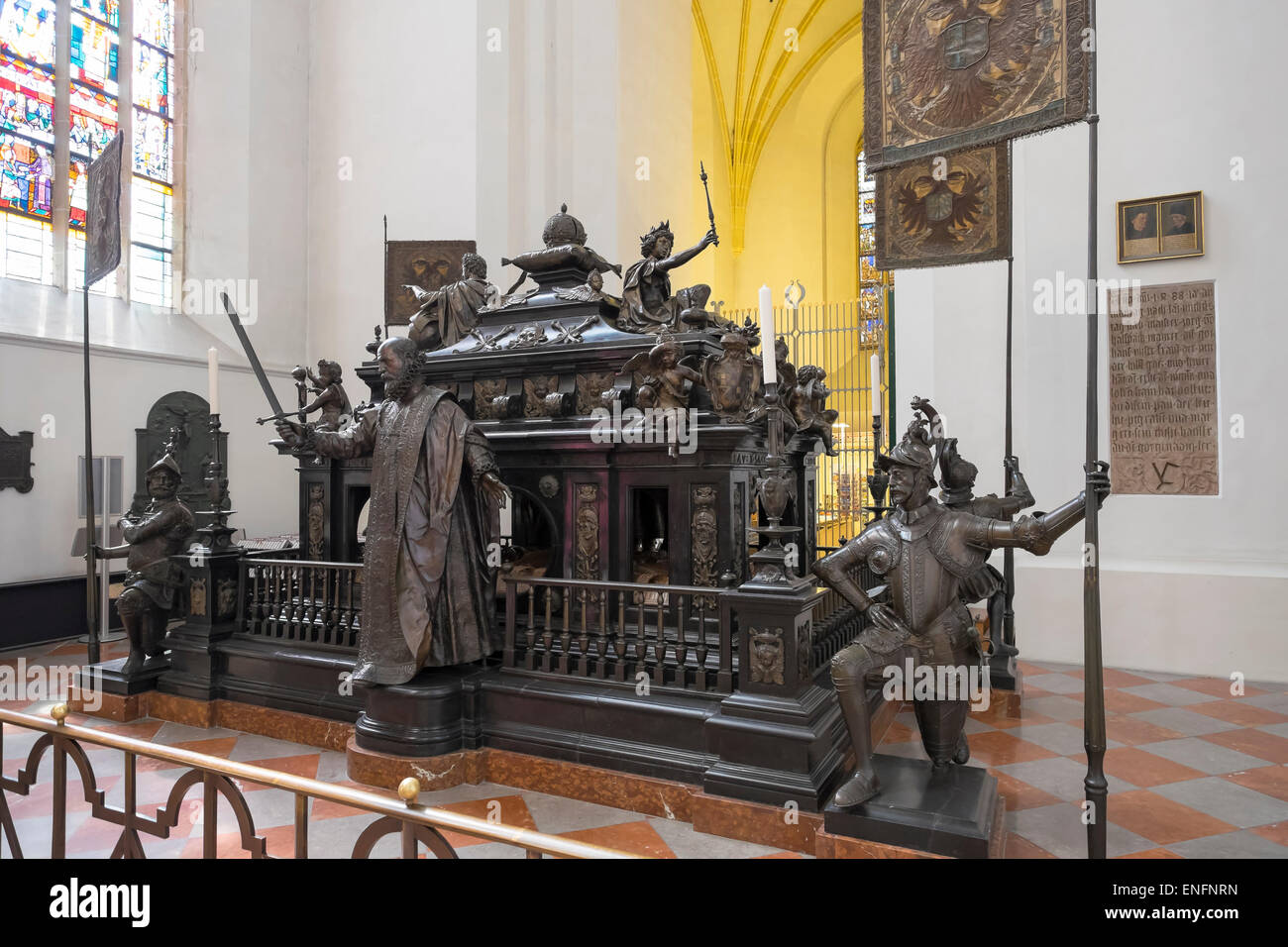 1622 cenotaph to Ludwig of Bavaria, Frauenkirche, Cathedral of Our Dear Lady, historic centre, Munich, Upper Bavaria, - Stock Image